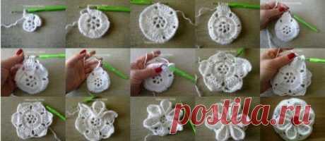 Вязание крючком. Объемный цветок
