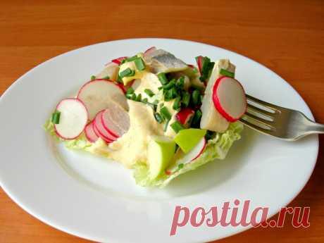 Салат «Норвежский» с сельдью, вкусный салат за 5 минут! — Кулинарная книга - рецепты с фото
