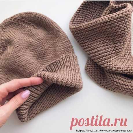 Комплект-шапка и снуд Reposted from @knitwear_by_mari (@get_regrann) -  Пряжа BBB Martine цвет 8995Нужно 6 моточковВяжем в 2 нити На шапку берем спицы 4,5 мм. Моя плотность 10х10 см=21 петля х 30 рядов. У меня шапулина на голову объемом 55-58 см, я набираю 92 петли+1 петля для того, чтобы сомкнуть вязание в круг. Количество петель на шапку должно быть кратно 4рем для красивого формирования макушки. Вяжем резинкой 1 лицевая х 1 изнаночная - 48 рядов, далее переходим на лице...
