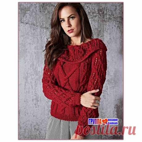 Пуловер с эффектным воротником, ажурным фантазийным узором и жгутами
