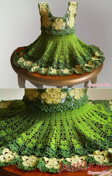 Green flower dress for the little woman of fashion.