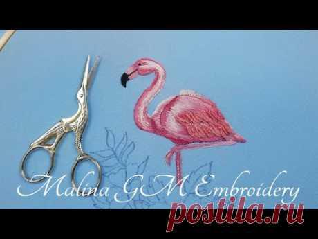 Pink flamingo   How to embroider Flamingo   Satin Stitch & Cast-on Stitch   Part 1 