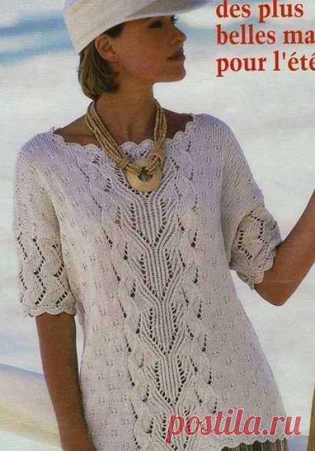 Кофточка для лета Эта модель была опубликована еще в 2014 году. Однако и сегодня она сможет украсить гардероб женщины, обожающей эксклюзивные вязанные вещи.  Размеры:42/44,46/48.  Вам потребуется:500(550)г пряжи(100%хлопок)104м/50г, спицы №4,крючок.