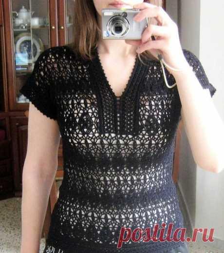 Стильная блузка крючком схема. Черная кофточка с ажурной планкой | Я Хозяйка