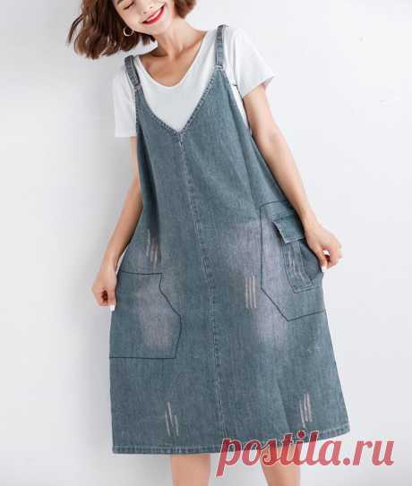 Women Dress Denim Blue Loose Sleeveless Long Jeans Ripped Pockets Dres - idetsnkf