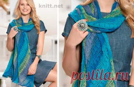Вязаная спицами шаль в синей гамме - knitt.net | Все о вязании