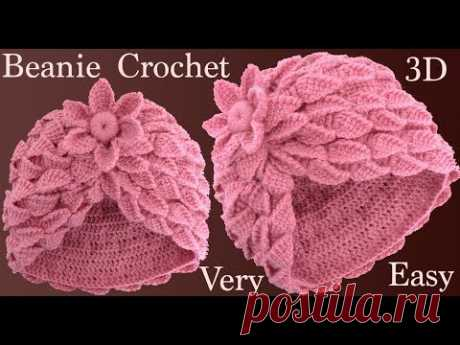 Crochet hat with leaf braids and 3D flower in Tunisian knit knit tallermanualperu
