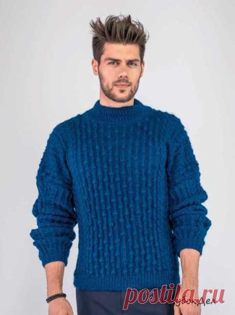 Вязание для мужчин - мужской свитер с фантазийным узором, схемы с описанием