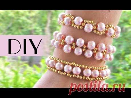Top 3 easy DIY beads bracelets / Простые браслеты из бисера на резинке для начинающих (детей)