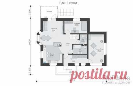 Rg5521 - Проект одноэтажного жилого дома с мансардой, террасой и балконами