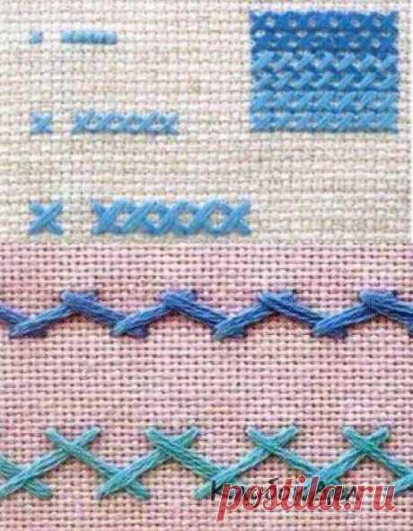 Los tipos básicos de las costuras usado en el bordado por la cruz con los esquemas y la descripción