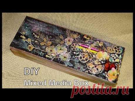 Mixed Media Box Микс Медиа коробочка с карандашами гвоздикойМК - YouTube