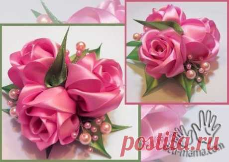 Цветы из атласных лент. МК🌹 / Дизайн для всех!