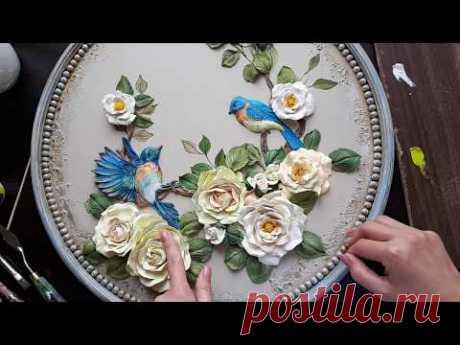 """Роза """"Скульптурная живопись"""" очень простой способ!"""