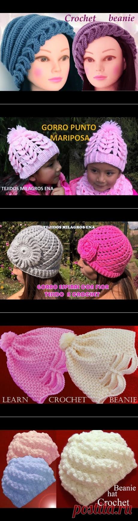 Gorro tejido con hojas superpuestas en relieve y flor a Crochet o Ganchillo  - YouTube bee3b7d30d2