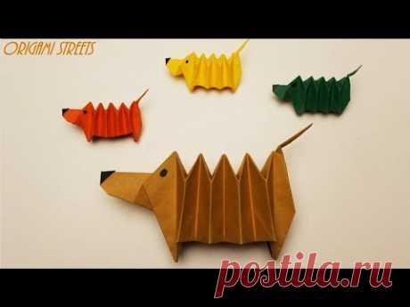 Оригами собака гармошка из бумаги. Антистресс.