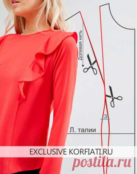 Блузка с воланами на плечах выкройка (38 фото): как сшить модель с рукава-воланами своими руками