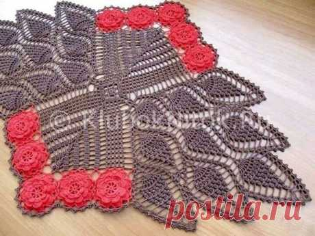 Необычная салфетка с цветами | Вязание крючком | Вязание спицами и крючком. Схемы вязания.
