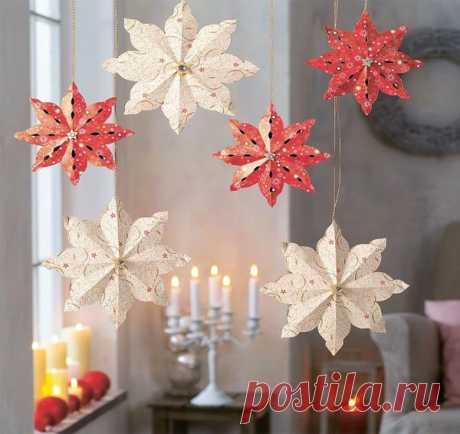 Новогодние украшения из бумаги своими руками: снежинки, звезды, цветы