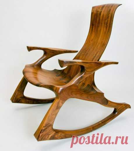 Крутое кресло-качалка из фанеры. Полный проект с чертежами