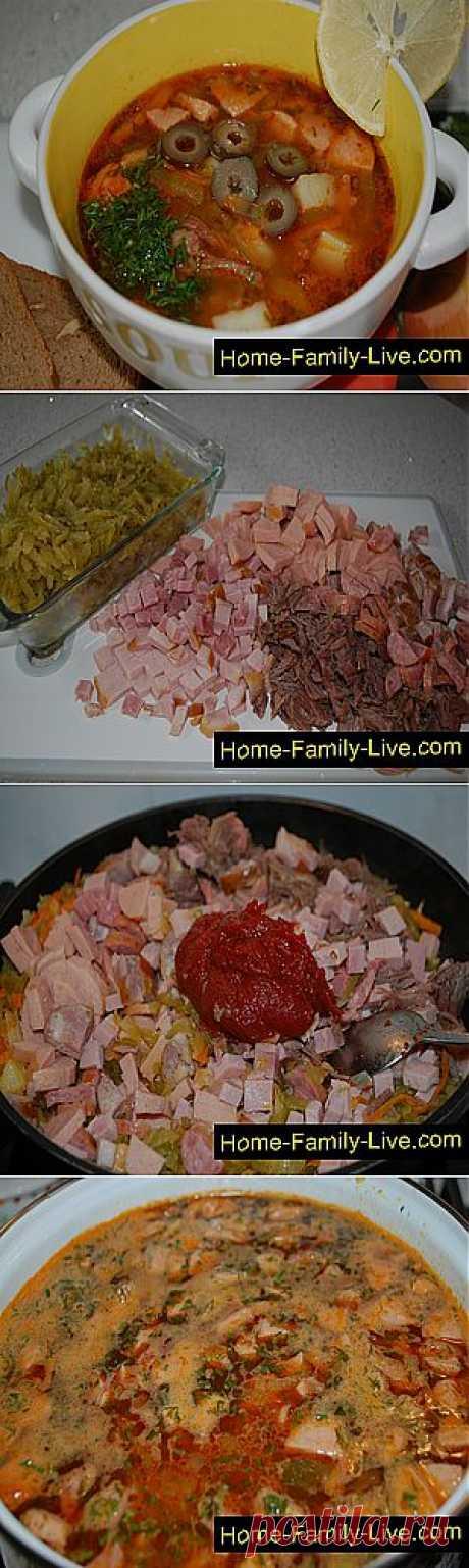 Кулинарные рецепты Солянка сборная мясная - пошаговый фоторецепт - суп с мясом и копченостями