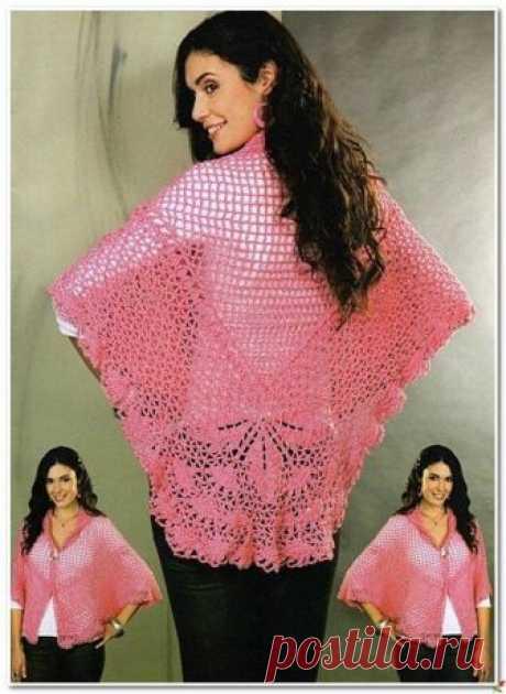 Схема розовой шали - накидки.