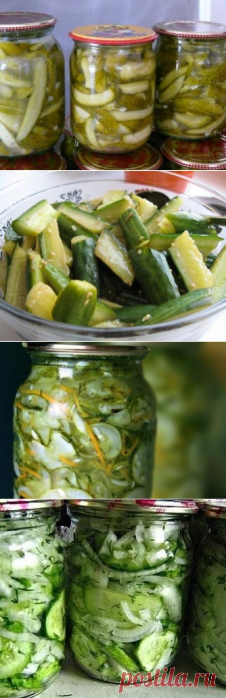 Салаты из огурцов на зиму – простые и вкусные рецепты / Простые рецепты