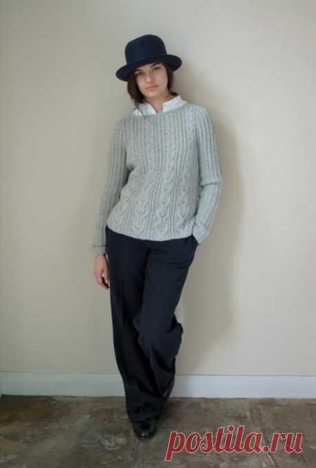 Пуловер А-силуэта с косами