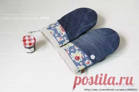 Кухонные прихватки из джинсовой ткани