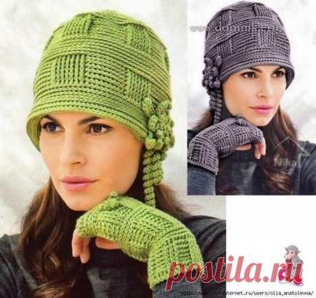 Вяжем теплые шапочки
