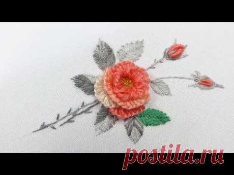 Вышивка: Роза из шерсти   Embroidery : wool Rose   easy