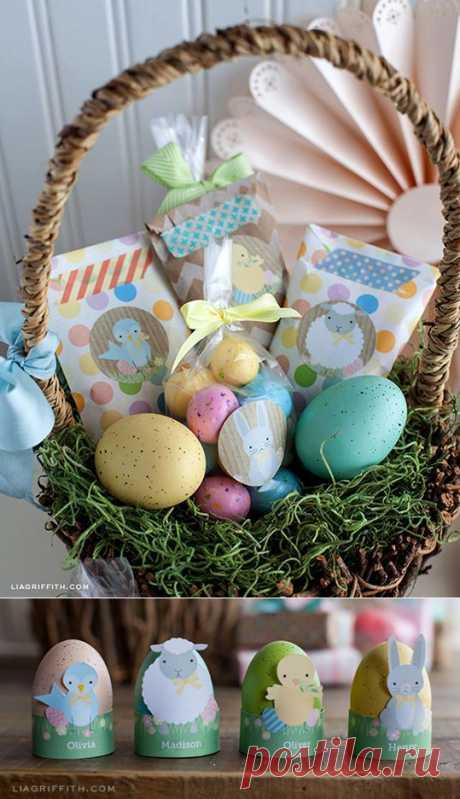 Шаблоны тегов и этикеток для оформления пасхальных яиц и подарков.