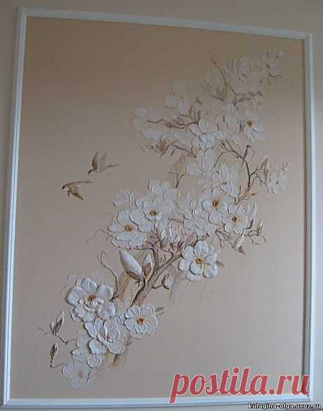 Сакура - Скульптура и лепка - Лепные панно и барельефы   Декор стены   Скульптура и Декор