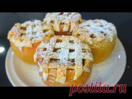 Запеченные яблоки с орехами и изюмом. // Печёные яблоки в духовке по-новому. Полезный десерт Нам понадобится: Яблоки 4 шт.  Орехи любые горсть.  Изюм горсть.  Сахар 2 ст л.  Сливочное масло по желанию.  Корица Вода 2 ст л.   Крахмал кукурузный 1 чл.  Тесто готовое или свое.  Яйцо для смазывания.