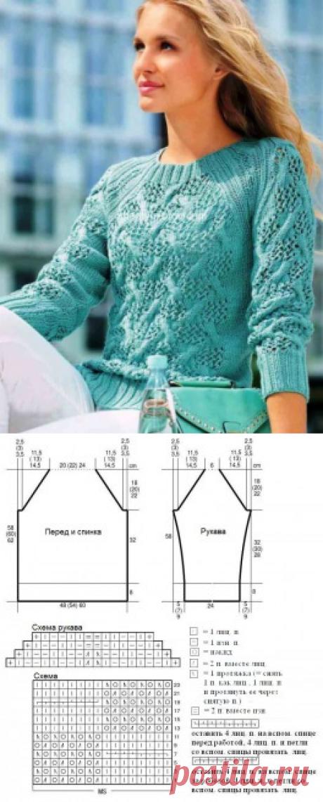 Pullover raglan with openwork braids