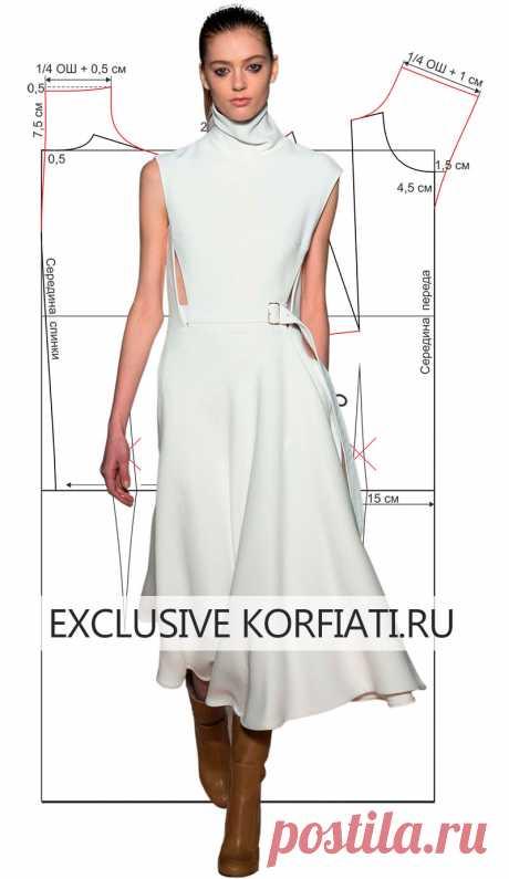 Выкройка женственного платья с цельнокроеной стойкой по мотивам платья от Виктории Бэкхем. Сшейте себе чудесное платье. Выкройка платья от Виктории Бэкхем