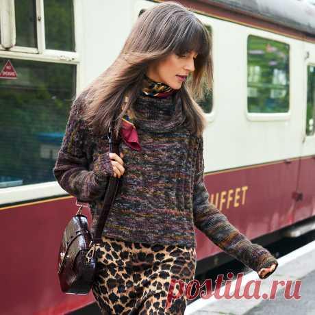 Меланжевый свитер оверсайз - схема вязания спицами с описанием на Verena.ru