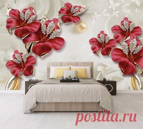 Драгоценные красные лилии в спальне