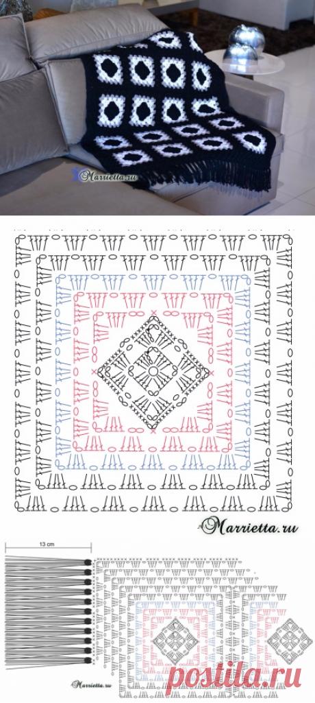 Элегантный плед крючком бабушкиными квадратами.