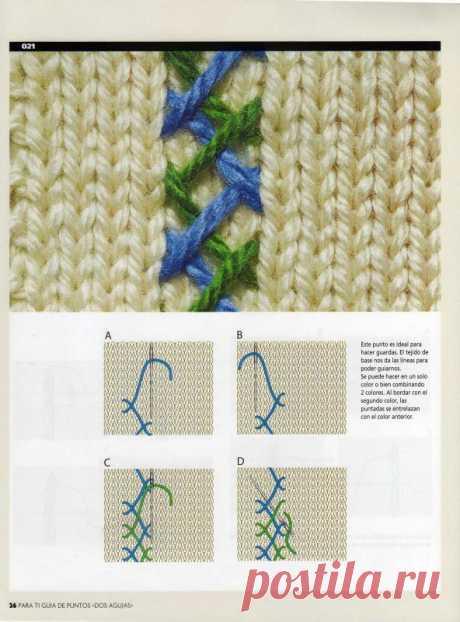 Вышивка на вязаном полотне - схемы швов » Женский Мир