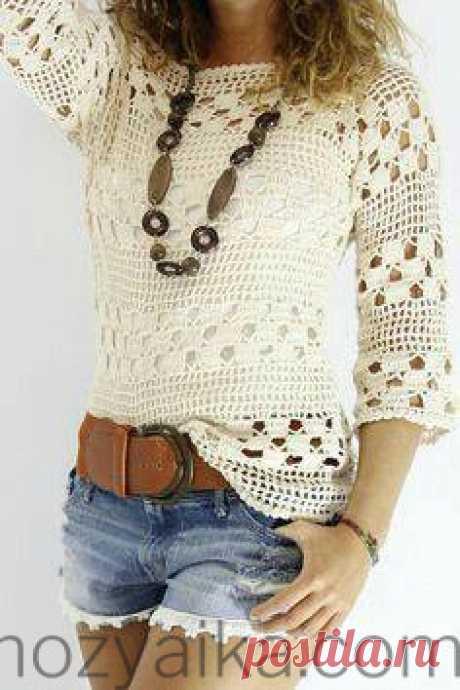 Блузка крючком яркое лето. Красивые кофточки крючком со схемами Белая вязаная блузка крючком ажурным узором. Видео мк по вязанию такой блузочки нашла но без перевода.
