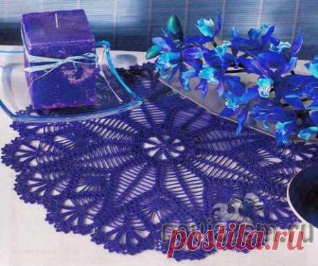 Салфетки крючком, «Фиолетовый ажур»