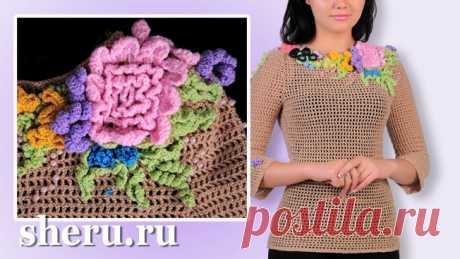 Филейное вязание кофточки крючком схемы и описание, декор цветами с бусинкой | Модель вязания №554