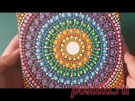 Wie malen ich mandalas mit Acrylfarben #16 - Pointillismus Schritt für Schritt mit Pinsel