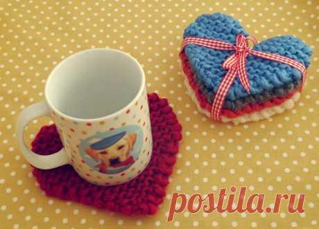 Подставки под чашки «Сердце» - схема вязания спицами. Вяжем Салфетки на Verena.ru