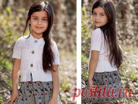 Белый жакет для девочки - схема вязания спицами. Вяжем Жакеты на Verena.ru