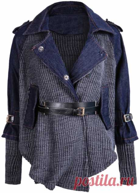 Комбинированный джинсовый вязаный кардиган