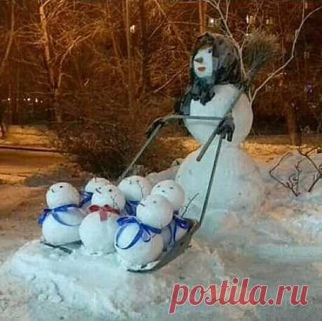 Многодетная снежная баба. Вот у людей фантазия!
