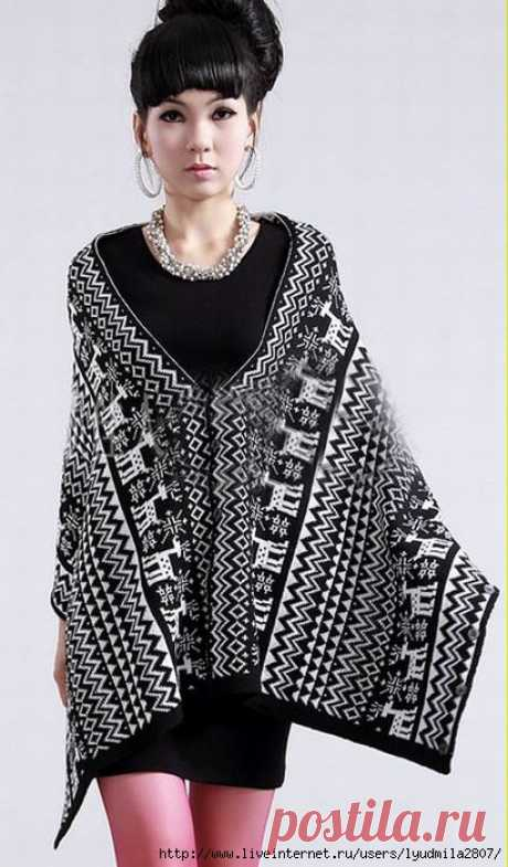 Пончо-платье-шарф-шраг. Одежда-трансформер 4 в 1. Жаккард