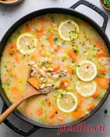 Суп с белой фасолью и лимоном